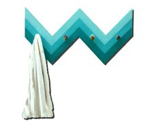 Coat Rack Wall Mounted 4 Hook Chevron Fence Bling in Teal Ombre