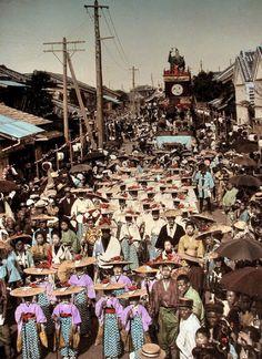 Matsuri float parade - or Ornamental car drawn at festivals. Probably Gion Matsuri in Kyoto, ca. 1900-1906
