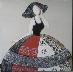 CUADRO MENINA (BACB2016-0426) Cuadro de #menina#plata#moderna#cuadro#pintura#arte#cuadros#modernos