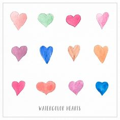Watercolor Hearts Vectors, Photos and PSD files Watercolor Heart, Watercolor Design, Vector Hand, Vector Free, Banners, Heart Illustration, Valentines, Hand Painted, Hearts