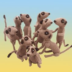 Meerkat soft sculpture running on all fours by niftyknits on Etsy, $32.00