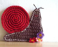 Red Snail Crochet Coasters set of two by MonikaDesign on Etsy, $18.00
