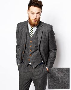 Image 1 ofASOS Slim Suit Jacket In Herringbone