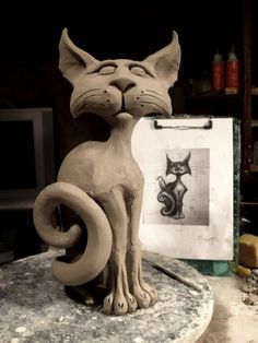 Grafton Pottery custom cat - from the FB page. Kewl!…