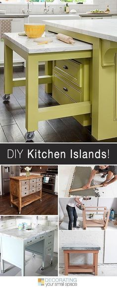 More DIY Kitchen Islands! • Lots of Ideas and Tutorials! Easy DIY kitchen island tutorials to help create extra space in your small kitchen! Building a kitchen island is easy, and adds storage and counter space! Play Kitchen Diy, Kitchen Ikea, New Kitchen, Kitchen Storage, Kitchen Small, Kitchen Organization, Kitchen Sink, Kitchen Cabinets, Organization Ideas