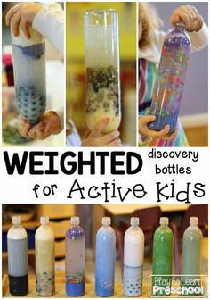 Weighted Sensory Bottles (Play to Learn Preschool) Discovery Bottles are an easy and fun way to offer kids a great sensory experience without all the mess. Don't get me wrong, I love a good preschool mess, but sometimes it's nice to change things up a Sensory Diet, Sensory Activities, Sensory Play, Preschool Activities, Sensory Bags, Sensory Table, Sensory Rooms, Autism Sensory, Energy Kids