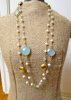 Pearl and aqua blue chalcedony necklace by DonnaCDesigns on Etsy, $165.00