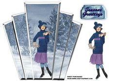 art deco panel with snow scene with art deco lady on Craftsuprint designed by Maxine Gathercole - art deco style panels with a silver edge and snow scene and deco era lady to decoupagethere are various ways to use these panels,mount them onto card of your choice and cut around leaving a border then mount onto an A6 card or just mount panels onto front on an A5 card or even on an easel card or stepper card. - Now available for download!