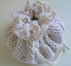 Brides Bag Bridal Drawstring Pouch Wedding Purse Reused Ivory Vintage Crocheted Lace Doily