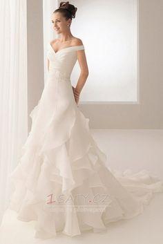 Princezna+Tenká+Sál+Středně+vzadu+Organza+Kostelní+vlečka+Svatební+šaty