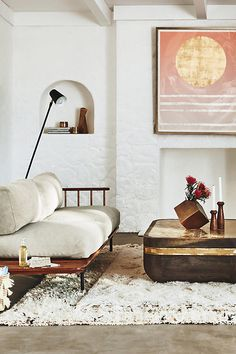 Cozy living room with Kalmar sofa from Anthropologie