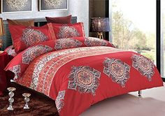 Looking for bedroom decorating pictures? 3 Piece Duvet Cover and Pillow Shams Bedding Set, Soft Microfiber Bohemian Design (Queen Size) - http://aluxurybed.com/product/3-piece-duvet-cover-and-pillow-shams-bedding-set-soft-microfiber-bohemian-design-queen-size/