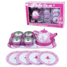 Remember the fantasy involved in a tea party? You'd invite your sister, your best friend or even just your toys. As the hostess you would gather the necessary supplies. Biscuits from the pantry if you were lucky or leaves and flowers from your garden would become gourmet treats thanks to a good imagination.  Spoil the little person in your life with this Prima Ballerina Tin Tea Set…who knows they could be the future cooks and restaurant owners.