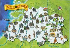 illustrated map of belgium