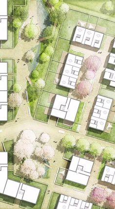 Landscape Design Masterplan Architecture Ideas For 2019 Model Architecture, Architecture Design Concept, Masterplan Architecture, Landscape Architecture Drawing, Architecture Graphics, Landscape Plans, Architecture Portfolio, Urban Landscape, Landscape Design