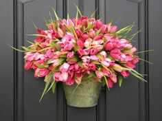 Bucket of Spring Tulips In Pink