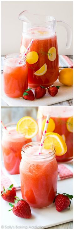 Honey Sweetened Strawberry Lemonade-- the natural flavors of strawberry and lemon shine through without all the added refined sugar!