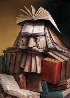 """Le Libraire (The Librarian)"" / André Martins de Barros (b. 1942)"