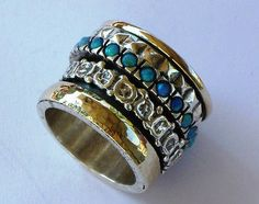 Spinner ring opals 925 Sterling Silver gold 9 k MEDITATION Size Selectable