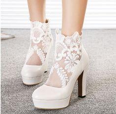春と秋2014年高- ヒールブーツセクシーな女性靴の花嫁のレースの白いウェディング刺繍靴プラットフォーム太いヒールのブーツ