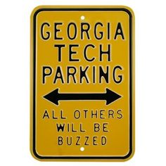 Georgia Tech Yellow Jackets Gold Parking Sign