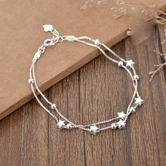 Sweet Girlfriends Gift Jewelry Lover Present Women Bracelet Double Stars Layer Bracelet - Fashion Bracelet - nagellack Silver Bracelets For Women, Cute Bracelets, Layered Bracelets, Fashion Bracelets, Fashion Ring, Jewelry Bracelets, Fashion Jewelry, Cute Jewelry, Jewelry Gifts