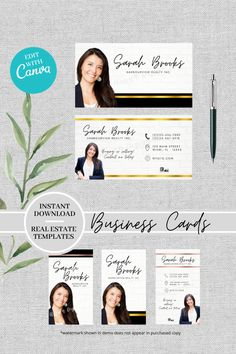 In need of a modern business card for your real estate business but don't have the time to make one from scratch or want to wait for a designer to create one? This might be just the template you need.  This beautifully designed business card template comes with four different formats and can be edited easily with Canva.com to suit your brand or business.