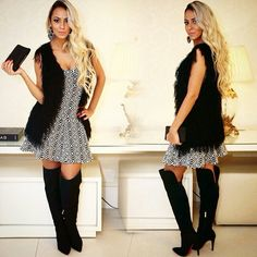 Look arrasador de Inverno. Vestido Jacquard,  com colete tricot com pêlo fake. Aposte nesta tendência.  #moda #model #instagirls #divas #amazing #instagood #gatas #instavicio #fashion #cute #photooftheday #instaluxo #luxuria #chic #fall #winter #lookslikes #looks #fashionista #follown #bloggers #blogs #regram #photooftheday #santólloonline #vemprasantóllo #uberaba #minasgerais #brazil
