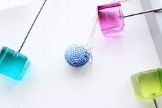 Light blue pendant necklace-Bead crochet necklace-Statement necklace-Sequin necklace-Handmade necklace - Gift for her - Minimalist jewellery