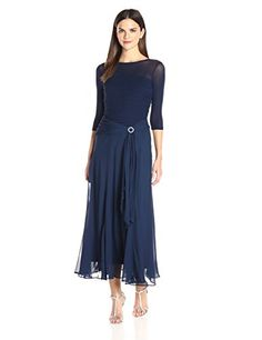 Sangria Women's 3/4 Sleeve Mesh Tea Length Fit and Flare with Embellishment