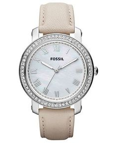 Fossil Watch, Womens Emma Winter White Leather Strap 38mm ES3189 - Fossil - Jewelry & Watches - Macys