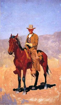Mounted Cowboy in Chaps with Race Horse by Frederic Remington #art
