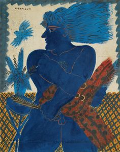 Alecos Fassianos (b. Greek), Athenean with Blue Bird, Acrylic on canvas, 79 by Modern Art, Contemporary Art, Ancient Myths, European Paintings, Greek Art, Sgraffito, Color Of Life, Bird Art, Blue Bird