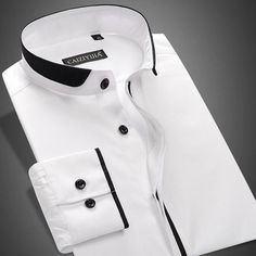 New Spring Stand Collar Men's Shirt Long Sleeve Cotton Slim-Fit Solid Color Business Men Dress Shirts - Mathilda Gents Kurta Design, Boys Kurta Design, Shirt Collar Styles, Banded Collar Shirts, Shirt Collar Pattern, Man Dress Design, Smart Casual Shirts, Men Dress, Shirt Dress