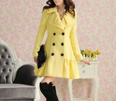 Yellow peacoat. Obsessed.