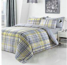 Grey and yellow bedroom idea