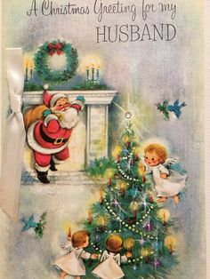 Vintage Christmas Card Husband Sparkly Tree by papermoonandmore Christmas Card Images, Vintage Christmas Images, Old Fashioned Christmas, Christmas Scenes, Christmas Past, Retro Christmas, Merry Little Christmas, Vintage Holiday, Christmas Greeting Cards