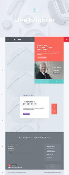 Website for L'Avenir, a dental clinic. Created by Phoenix le Studio Créatif (http://phoenix.cool) #FlatUI web design