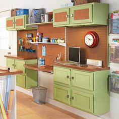 Use Kitchen Cabinets for Craft Storage - see slide #3 for details on the adjustable work/desktop between the two sets of cabinets.  This idea could be used on any workspace that's against a wall.  (Have you seen how expensive adjustable-height tables area?)