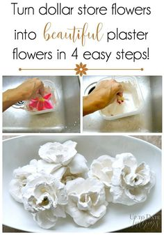 Transform dollar store flowers into gorgeous plaster flowers in 4 easy steps!