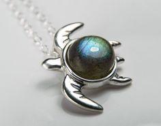 Sea Turtle Necklace  Gemstone Turtle Pendant  by FantaSeaJewelry,