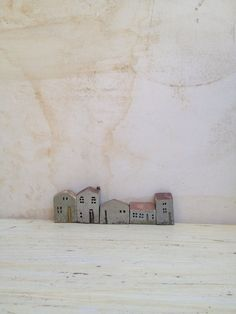 set of 5 ceramic houses made in high fired by VesnaGusmanClayArt,
