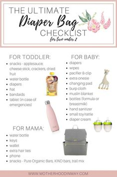 What's in my diaper bag for two under 2 FREE printable checklists - diaper bags - . - Baby information - # for What's in my diaper bag for two checklists under 2 FREE printable . Newborn Essentials N Diaper Bag Checklist, Diaper Bag Essentials, Diaper Bag List, Best Diaper Bag, Hospital Bag Checklist, Baby Diaper Bags, Baby Bag List, Newborn Baby Essentials, Toddler Diaper Bag
