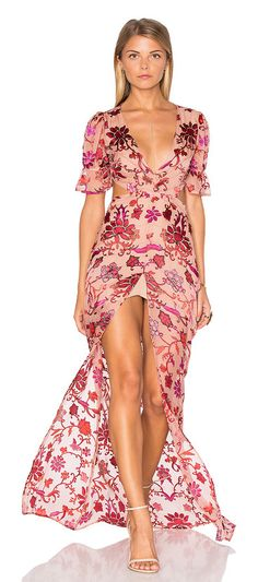 Saffron Maxi Dress by For Love & Lemons. Silk blend. Dry clean only. Partially lined. Front slit. Burn-out fabric. Back waist cut-out. Hidden side zipper closure. FORL-WD422. CD1481S FA16. Derived from those sun-soaked Lemonade Stand Days designers and owners, Gillian Mahin and... #forlovelemons #dresses #gowns