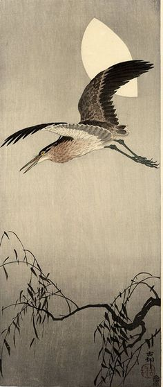 hanga gallery . . . torii gallery: Night Heron and Moon by Ohara Koson