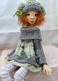 Knitted Sweater Dress Set for Kaye Wiggs Tobi SD Dollstown Elf Body by Barbara | eBay