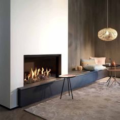 Open Fireplace, Fireplace Wall, Living Room With Fireplace, Modern Fireplaces, Cozy Living Rooms, Fireplace Mantels, Minimalist Fireplace, Contemporary Fireplace Designs, Home And Living