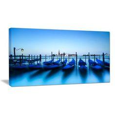 "DesignArt Venice Gondolas at Blue Sunset Photographic Print on Wrapped Canvas Size: 28"" H x 60"" W x 1"" D"