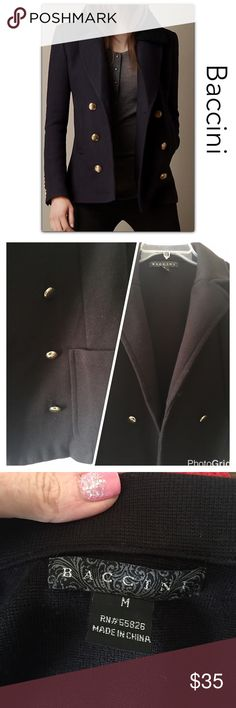 "Black Peacoat Sweater 100% guarantee on returns for any reason‼️ Condition - preowned excellent, like new. Color(s) - black with gold buttons Style & Features - Beautiful thick knit pea-coat style sweater good for 3-season; fabulous condition, very stylish-classy and by Italian designer. Material - 100% acrylic  Care - Machine washable Measurements (laying flat) - 🔹bust 34"", 🔹sleeve 22.5"", 🔹length 24"". Baccini Sweaters"