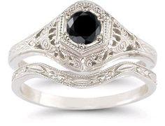 Antique-Style Black Diamond Bridal Set #BridalSet #BridalSet #BlackDiamonBridalSet For Free things on Amazon http://freethings.site/